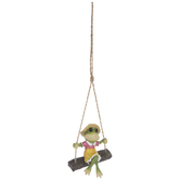 Swinging Frog Girl Hanging Decor
