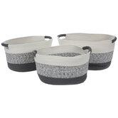 Gray & White Striped Oval Basket Set