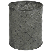 Diamond Pattern Round Metal Vase