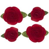 Red Felt Roses