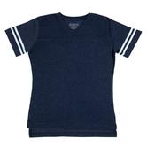 Heather Blue & White Baseball V-Neck Adult T-Shirt - Medium