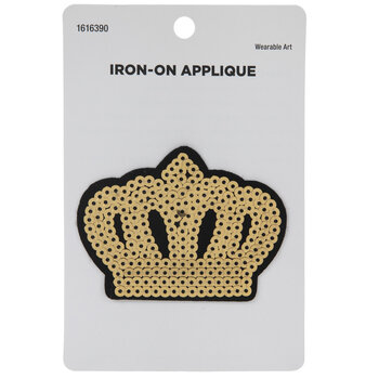 Gold Crown Sequin Iron-On Applique