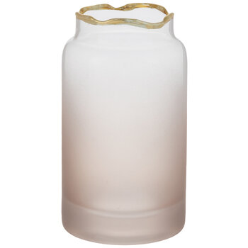 Matte Pink Ombre Glass Vase With Gold Rim