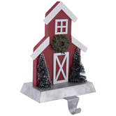 Red & White Barn Wood Stocking Holder