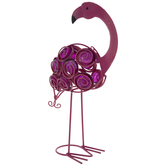 Pink Swirl Metal Flamingo