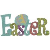 Aqua Easter Glitter Wood Decor