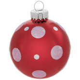 Red & Pink Glitter Polka Dot Ball Ornaments
