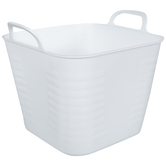 White Square Ribbed Container With Handles