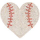 Baseball Heart Rhinestone Iron-On Applique