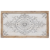 Embossed Flower & Flourish Rectangle Metal Wall Decor