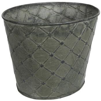 Diamond Pattern Oval Metal Pot