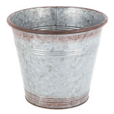 Distressed Galvanized Metal Flower Pot - Large