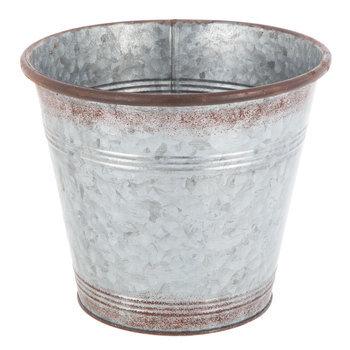 Distressed Galvanized Metal Flower Pot