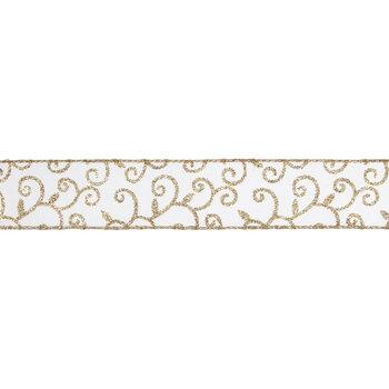 "Glitter Swirl Wired Edge Sheer Ribbon - 1 1/2"""