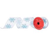 "Blue Glitter Snowflake Wired Edge Ribbon - 2 1/2"""