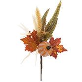 Pumpkin, Leaves & Wheat Pick