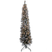 Ultra Slim Flocked Brewster Pine Pre-Lit Christmas Tree - 7'