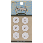 White Round Buttons - 16mm