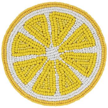 Lemon Slice Beaded Coaster
