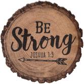 Joshua 1:9 Round Wood Magnet