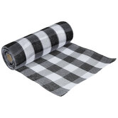 "Black & White Buffalo Check Deco Mesh Ribbon - 10"""