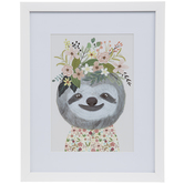 Sloth With Floral Crown Framed Wall Decor