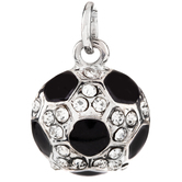Soccer Ball Charm With Rhinestones