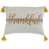 Thankful Ticking Stripe Tassel Pillow
