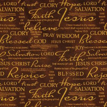 Brown Faith Cotton Calico Fabric