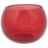 Red Roly Poly Crackled Glass Candle Holder