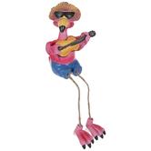Flamingo With Guitar Shelf Sitter