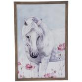 White Horse In Flower Field Wood Wall Decor
