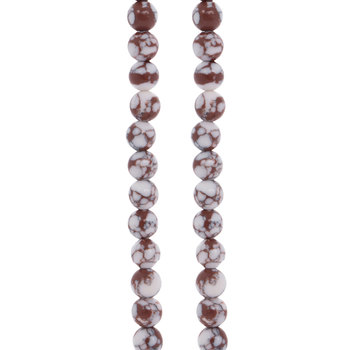 White & Brown Dyed Howlite Bead Strands - 6mm