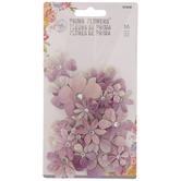 Purple Glitter Prima Flower Embellishments