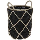 Black & Beige Woven Grass Basket