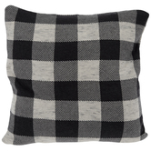 Dark Gray Buffalo Check Knit Pillow Cover