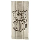 Mornin' Pumpkin Striped Kitchen Towel