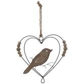 Bird Inside Heart Wood Wall Decor