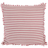 Red & Cream Ticking Striped Pillow