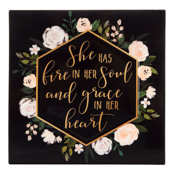 Fire In Her Soul Floral Metal Sign