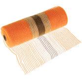 "Orange & Brown Deco Mesh Ribbon With Jute - 10"""