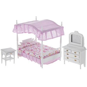 Miniature Canopy Bed & Furniture
