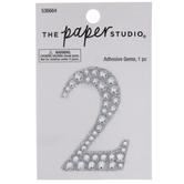 Silver Number Glitter & Rhinestones Sticker - 2