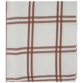 White & Rust Plaid Tablecloth