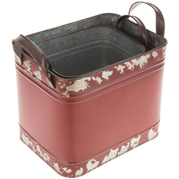 Red Distressed Square Metal Container Set