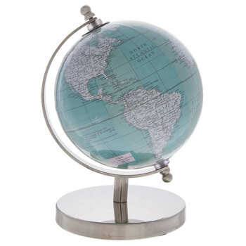 Turquoise Globe With Silver Stand