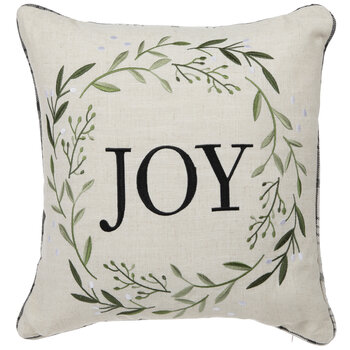 Joy Wreath Embroidered Pillow