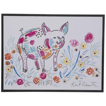 Doodle Floral Pig Wood Wall Decor