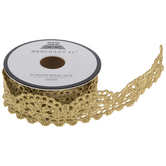 """Gold Scallop Edge Lace Trim - 1"""""""