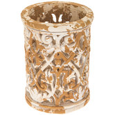 Distressed Carved Flourish Candle Holder